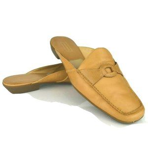 Beige Leather Square Toe Mules Open Back Loafers